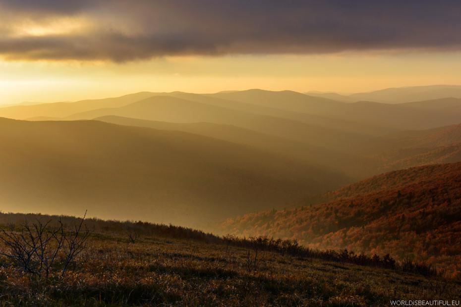 Zachód słońca w Bieszczadach