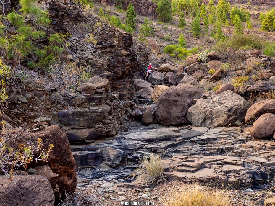 Climbing the boulders - bouldering