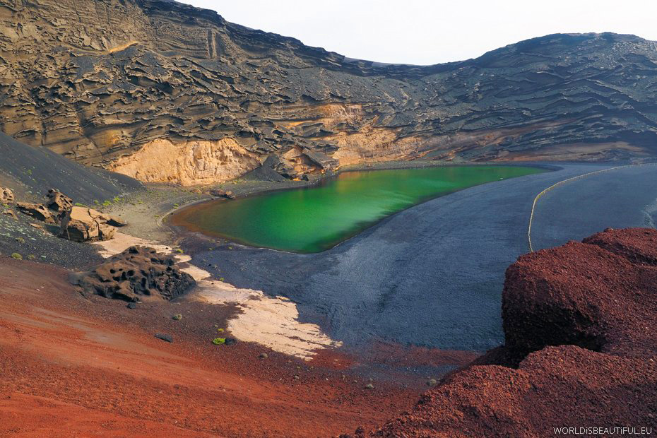 Green lake in El Golfo