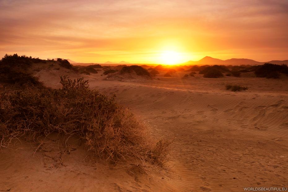 Zachód słońca na plaży Playa Famara