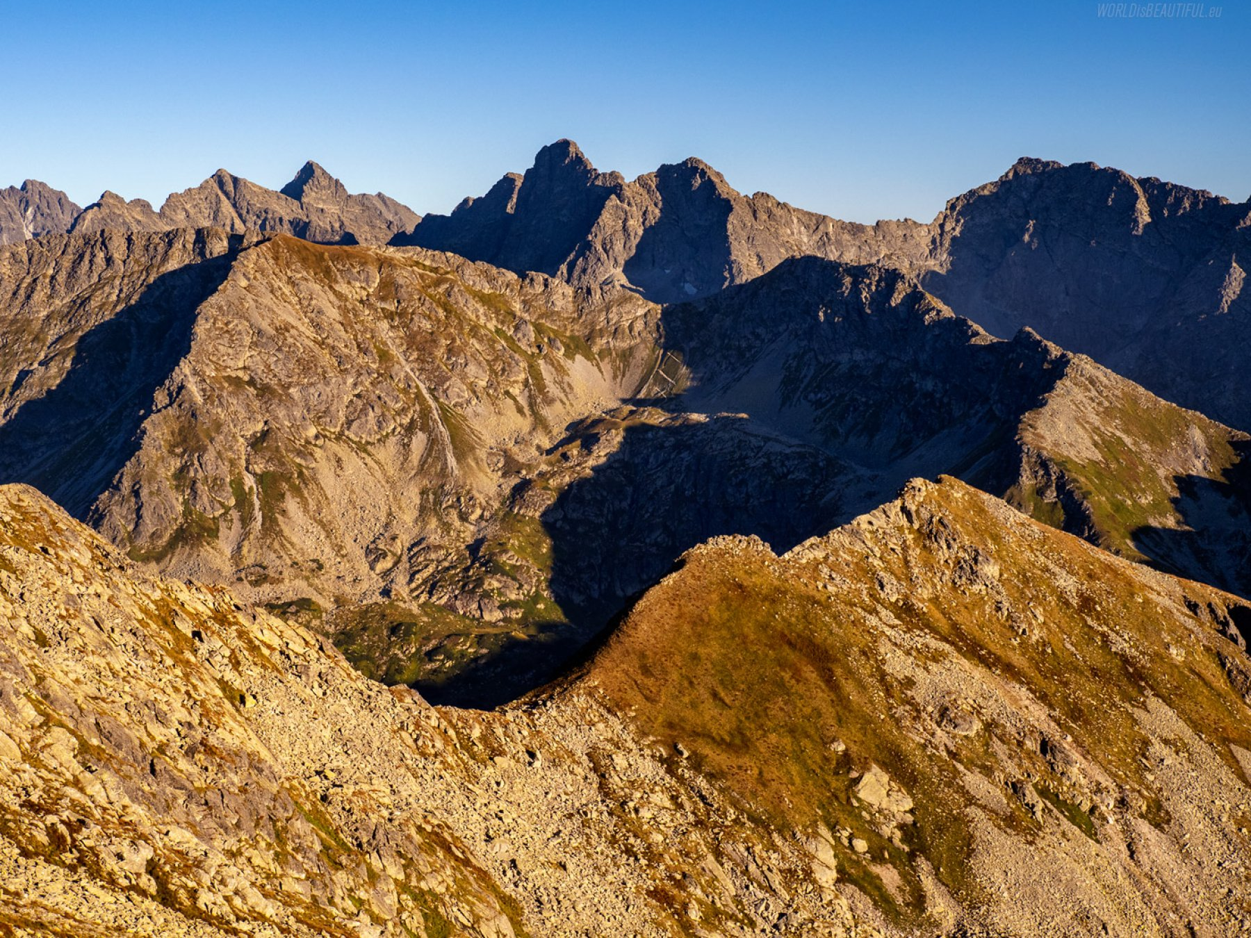 View of the High Tatras from the Zawrat Pass