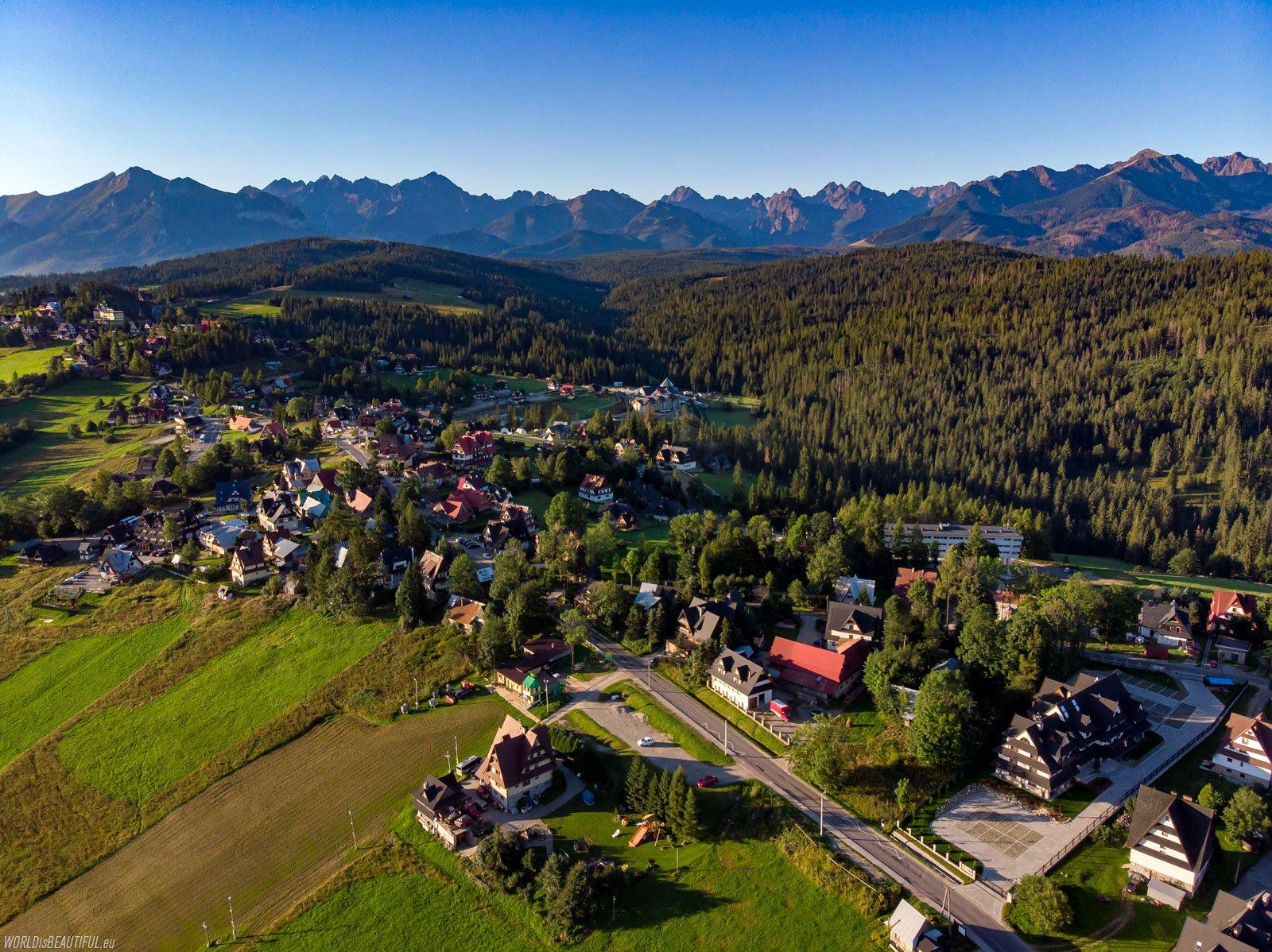 Bukowina Tatrzańska and the panorama of the Tatra Mountains