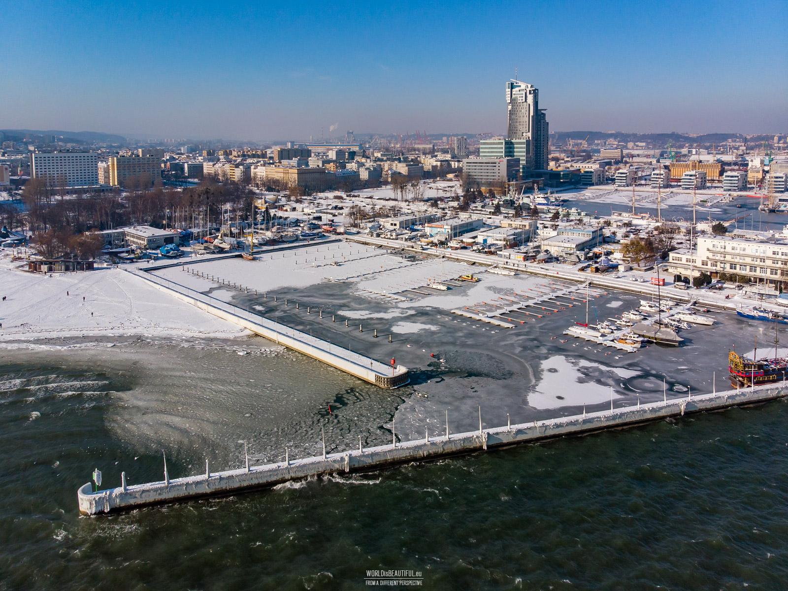 Marina in Gdynia, winter photo