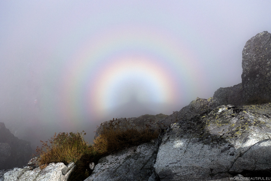 Brocken spectre (mountain spectre) and glory