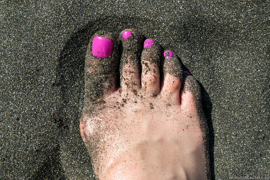 Black sand on the beach