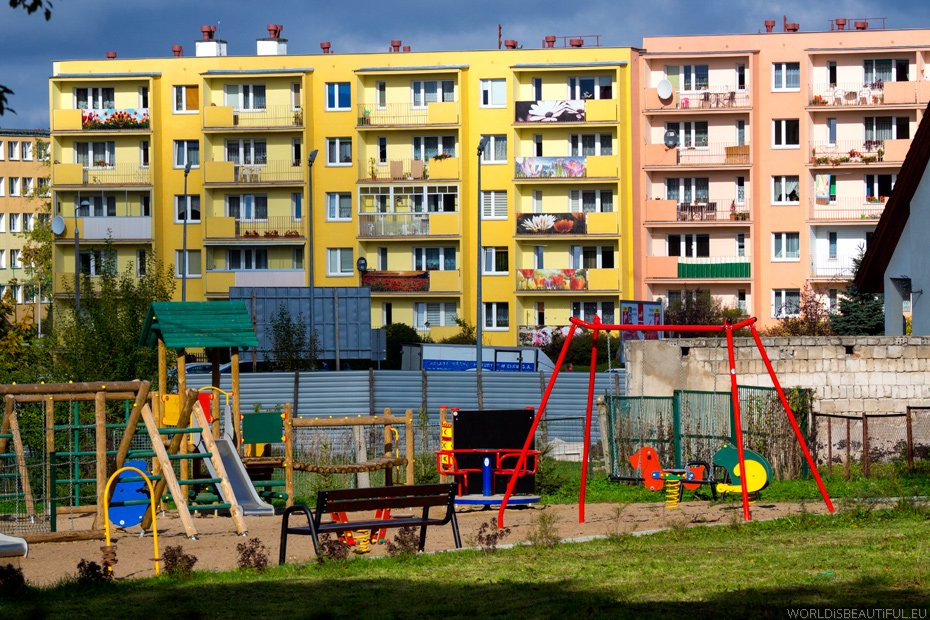 Colorful houses in Kętrzyn
