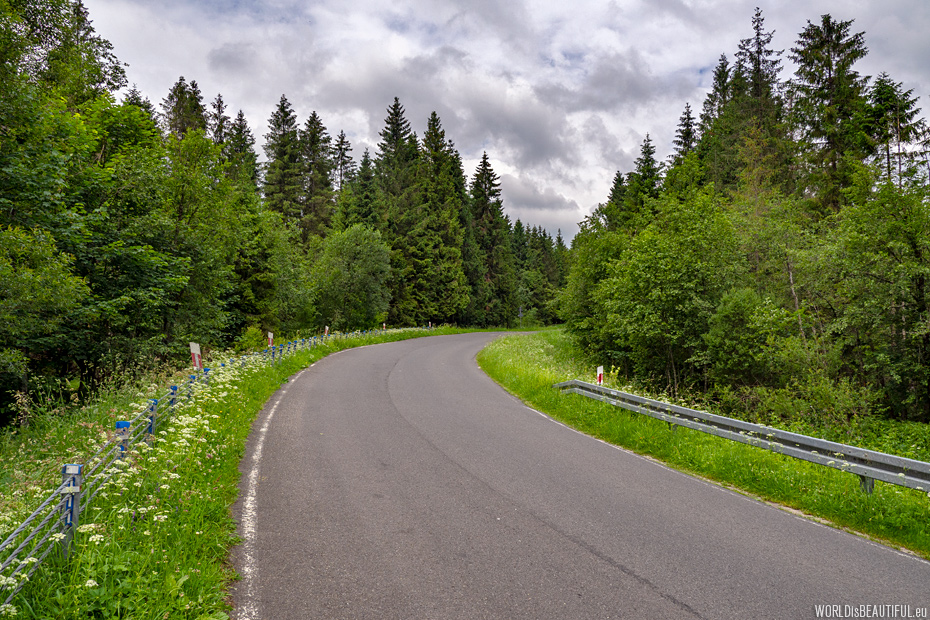Road through the Bieszczady Mountains